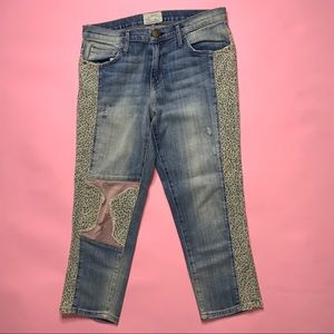 Current Elliot Cheetah Patch Work Cropped Jeans